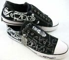 Men's ED Hardy Pirate Skull Black Shoes RHINESTONES NIB