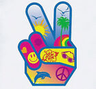 Peace Hand sign T-Shirt hippie smiley flower 60's