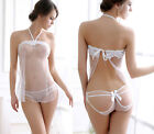Sexy Lingerie White Honeymoon Bra Nightie Chemise Gowns Dress Babydoll + String
