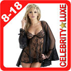 Black Lingerie Babydoll Baby Doll Lace Coat Gown Dress