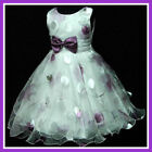 Purple Whit Wedding Pageant Christmas Party Flower Girls Dress SIZE 3-4-5-6-7-8Y