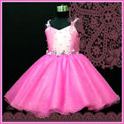 875 Hot Pink Wedding Party Fancy Flower Girls Dresses SIZE 2T 4T 6T 7 8T 10T 12T