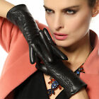 Women's GENUINE LAMBSKIN leather gloves WINTER 3 color