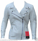 Ladies White Motorbike Motorcycle Racing Cruiser Leather Jacket - CE ARMOURED