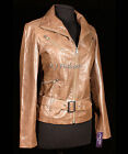 Rock Vintage Brown New Ladies Women's Stylish Retro Real Cow Hide Leather Jacket