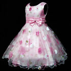 UK Pinks Christmas Wedding Party Flower Girls Pageant Dresses SIZE 3-4-5-6-7-8Y