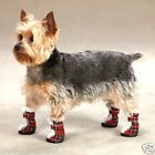 Dog Boot Tartan Plaid Bootie- Sherpa Trim Hook & Loop Close Boots by East Side
