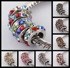 NEW! Wholesale Rhinestone Crystal Sliver Spacer European Charm Bead Fit Bracelet