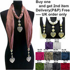 Woman Ladies Cotton Scarf Accessory Jewellery Necklace Beads Heart Pendant stud