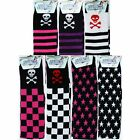 OVER KNEE SOCKS STRIPES CHECK SKULL & CROSS BONES PINK RED WHITE BLACK EMO PUNK