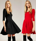 European Womens Tunic 2/3 Sleeves CJ05 Knee Length Pleated Dresses