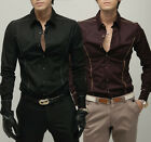 ST19 New Mens Luxury Casual Slim Fit Stylish Dress Shirts 2 Colors 4 Size