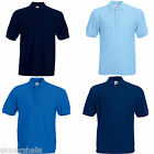 Fruit of the Loom BLUE Polo Shirt Choice of Size and Colour S-XXXL Plain No Logo