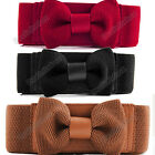 Women's Girls Graceful Bowknot Elastic Lovely Belt With Buckle Waistband Sweet
