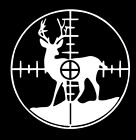 Hunting Decal Deer in Crosshairs gun sight buck vinyl car window sticker graphic