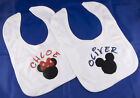 PERSONALISED NAME DISNEY MICKEY OR MINNIE BABY BIB NEW