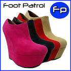 New Fashion Ladies High Heel Wedge Platform Ankle Boots Faux Suede Shoes Sandals