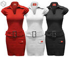 WOMENS LADIES BUCKLE BELT ZIP FRONT DRESS BODYCON DRESSES TOP MISS SEXY TROUSERS