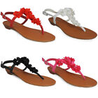 WOMENS LADIES FLAT GLADIATOR TOE POST FLOWER SLINGBACK SANDALS SHOES 3 4 5 6 7 8