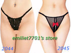 See-through Black Lace Mesh Thong Open T pants Panty G-string Bowknot Underwear