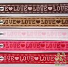 """5 metres coffee/white/pink/red letter love Grosgrain RIBBON 3/8""""(9mm)"""