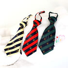 Children Boys Kids Elastic Necktie Preppy Look Stripe Yellow Red Green Satin Tie