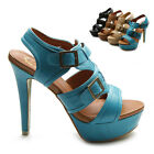NEW Womens Ankle-Strap Buckles Accent Platforms High Heels Sandal Multi Colored