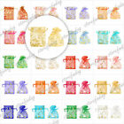 20x 10Colors Rectangle Organza 70x90 Flowers Hearts Love Pouches Bags Free Ship