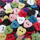 Red/black/white/pink/purple/green/yellow/blue Heart Buttons Ø11mm 2 holes Sewing