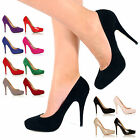 WOMENS LADIES NEW HIGH HEEL PUMPS MINI PLATFORM WORK COURT OFFICE SHOES SIZE 3-8