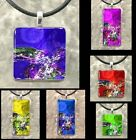 Abstract Handmade Glass pendant Necklace 1x1 Square or Rectangle