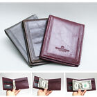 New Mens Genuine Cowhide Oil Leather Spring Moneyclip Wallet Purse In Fashion