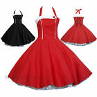 Maggie Tang 50s VTG Retro Pinup Housewife Rockabilly Black Red Swing Dress K-508