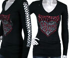 AFFLICTION SINFUL women's COLLINS sweater black woven cutout sleeve 111SW003