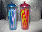 STRAWS 100 IN REUSABLE CONTAIN WITH LID  THEY CAN'T GET FLATTEN IN THE CONTAINER