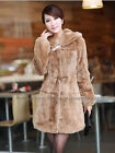 100% Real Genuine Rabbit Rex Fur Long Coat Jacket Clothing Ladies Hoodie Vintage