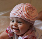 Handmade Crochet Baby/Toddler PINK Beanie Hat Big Flower You Choose Size