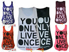WOMENS YOLO YOU ONLY LIVE ONCE PRINT VEST TOP LADIES GIRLS TEE SIZES 8 10 12 14