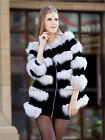 100% Real Genuine Rabbit Fur Mix Fox Fur Long Coat Jacket Clothing Winter New