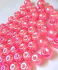 Bright Pink Glass Pearl Beads 4mm, 6mm, 8mm, 10mm choose your size, multi choice