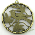 D10 Round Bronze Antique Lucky Birds On Branch Tags Charms Dangle Pendants 32mm