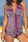 Sexy Romantic stripe pink One Piece MONOKINI SWIMSUIT SWIMWEAR US SIZE M L XL