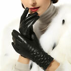 Women's Winter genuine nappa leather ruched gloves with Gold Plated logo