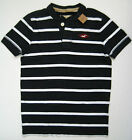 HOLLISTER Mens Hammerland Shirt L Navy Blue Stripes Short Sleeve Henley NEW NWT