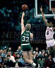 Larry Bird Boston Celtics hook shot over Dr. J  8x10 11x14 16x20 photo  011