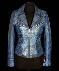 Rachel Vintage Blue New Ladies Retro Real Soft Sheep Stained Leather Jacket
