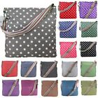 Ladies Polka Dots Spot Canvas Large Saddle Rainbow Strap Crossbody Messenger Bag