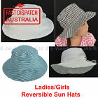 Ladies or Kid Girl Toddler Bucket Wide Brim Sun Hat adjustable Cotton REVERSIBLE