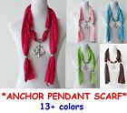 Ladies Women Large Anchor Pendant Necklace Scarf Shawl Wrap Soft Stole 15 colour