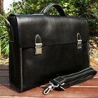 New Men's Genuine Cow Leather Briefcase Tote Messenger Shoulder Bag  Black Brown